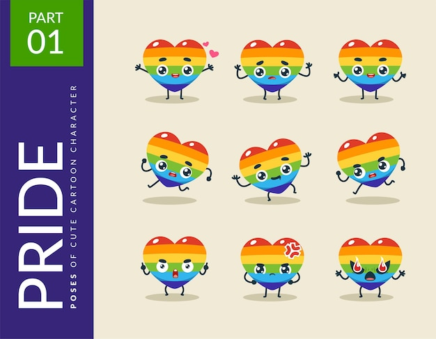 Cartoon images of the pride heart. set.