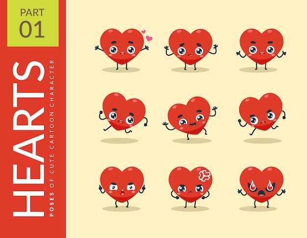 Cartoon images of the red heart. set.