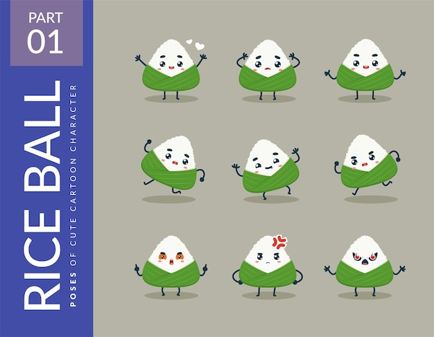 Cartoon images of the rice ball. set.
