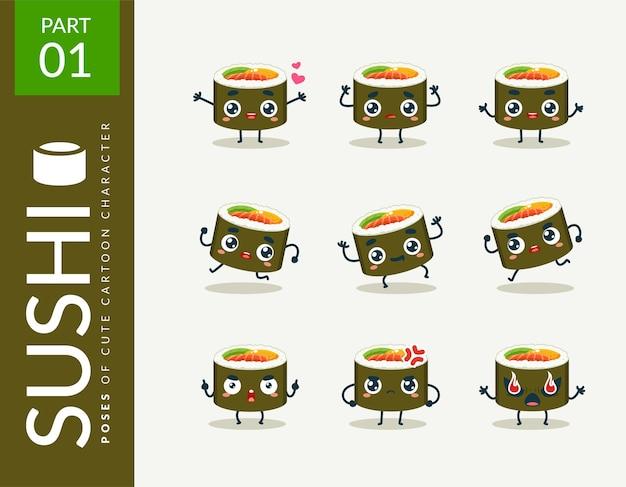 Cartoon images of sushi. set.