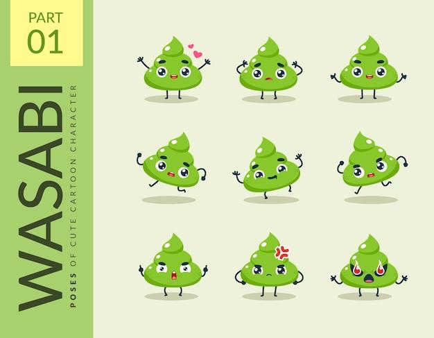Cartoon images of wasabi. set.