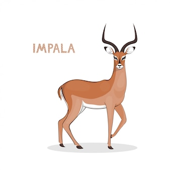 A cartoon impala with long horns