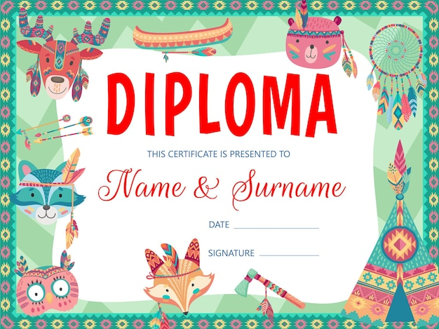 Cartoon indian animals, kids education diploma and certificate. school or kindergarten graduation diploma, certificate or award of achievement with native american arrows, feathers, tomahawk