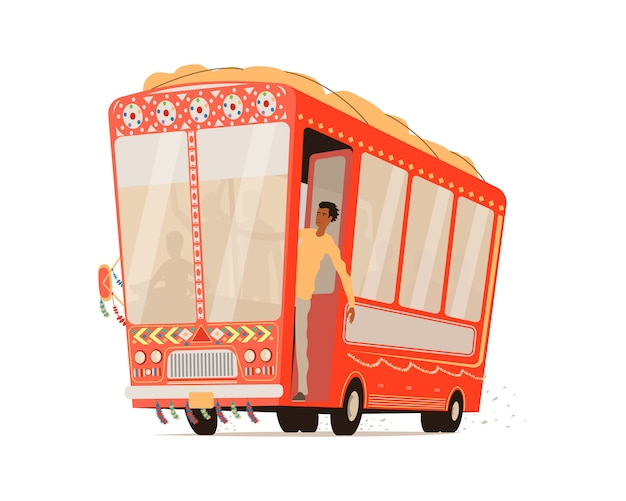 Cartoon indian bus isolated.