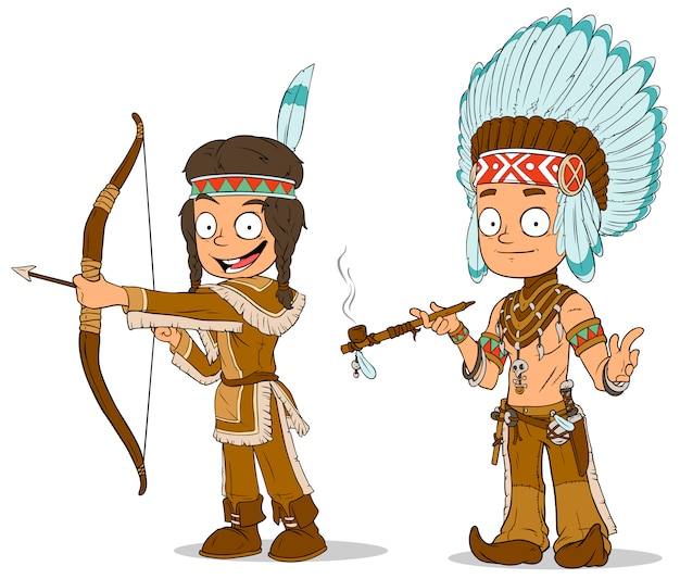 Cartoon indian chief young warrior characters set