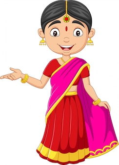 Cartoon indian woman in traditional clothes