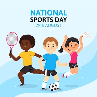 Cartoon indonesian national sports day illustration