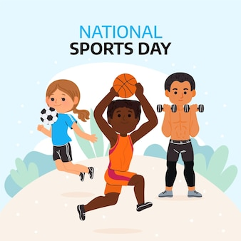 Мультяшный индонезийский национальный спортивный день иллюстрация