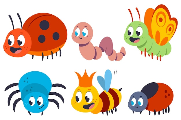 Cartoon insect and bug set isolated on a white background.