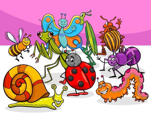 Группы мультяшных насекомых и ошибок