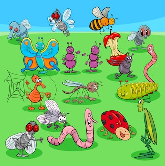 Cartoon insects characters group