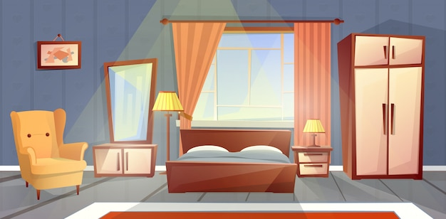Cartoon interior of cozy bedroom with window. living apartment with furniture