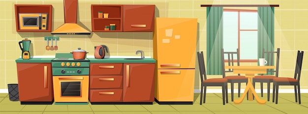Cartoon interior of family kitchen counter with appliances, furniture.