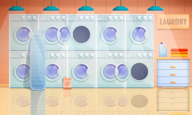 Cartoon interior of laundry room with washing machines, vector illustration