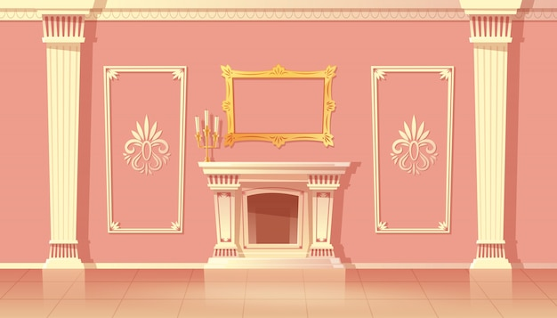 Cartoon interior of luxury living room, ballroom with fireplace.