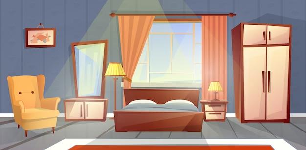 窓付きの居心地の良いベッドルームの漫画のインテリア。家具付きリビングアパート