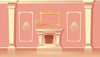 Cartoon interior of luxury living room, ballroom with fireplace.