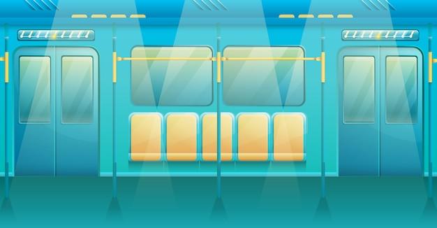 Мультяшный интерьер поезда метро, иллюстрация