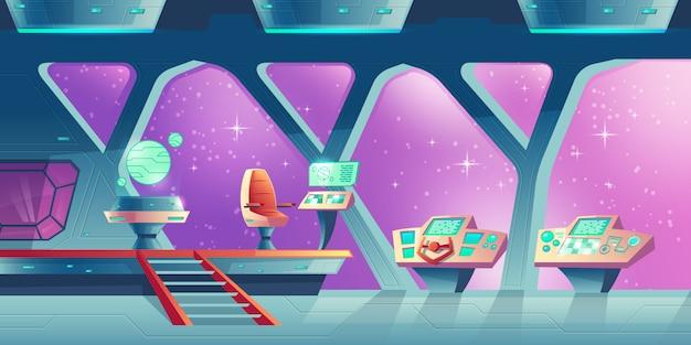 Cartoon interior of spaceship, cockpit with control panels and handwheel.