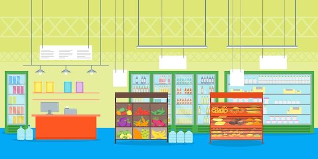 만화 인테리어 슈퍼마켓 또는 가구 상점 선반 세트 및 금전 등록기 플랫 스타일 디자인 요소가 있는 상점.