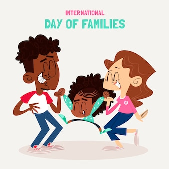 Cartoon international day of families illustration