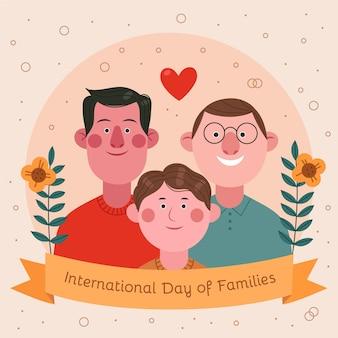 가족 일러스트의 만화 국제 날
