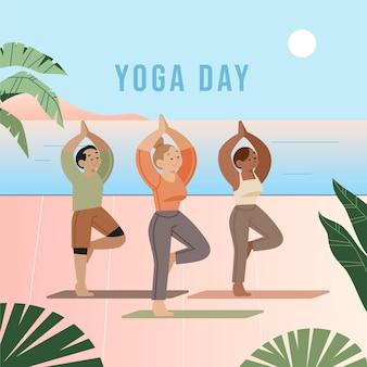 Международный день йоги мультфильм иллюстрации