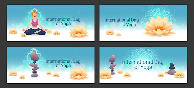 Cartoon international day of yoga banners set