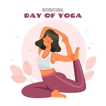 Cartoon international day of yoga illustration