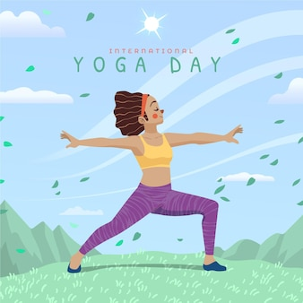 Cartoon international day of yoga illustration