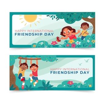 Cartoon international friendship day banners set