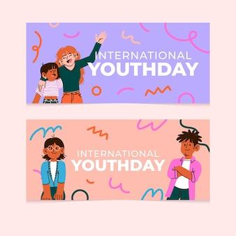 Set di banner per la giornata internazionale della gioventù dei cartoni animati