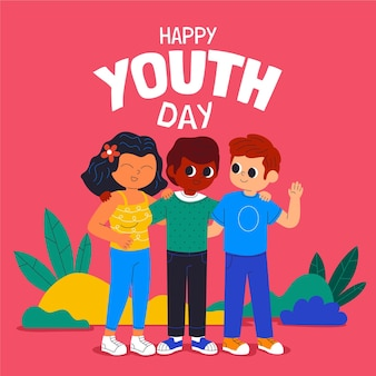 Иллюстрация международного дня молодежи шаржа
