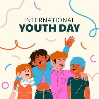 Cartoon international youth day illustration