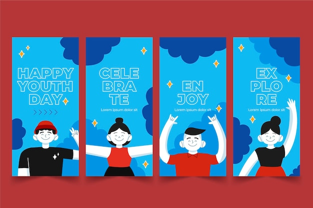 Cartoon international youth day stories collection