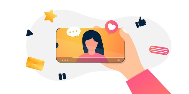 미디어 콘텐츠를 기록하는 만화 인터넷 블로거. 인플 루 언서 촬영 영상 블로그. 소녀는 그녀의 스마트 폰에 사진을 걸립니다.
