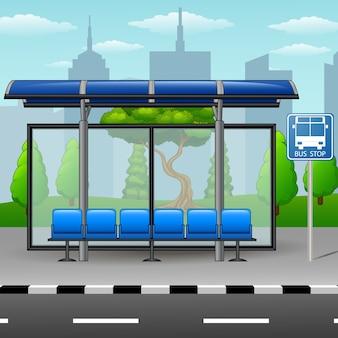 Cartoon is a city bus stop
