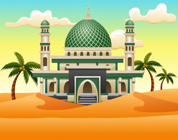 Cartoon of islamic mosque building on the desert