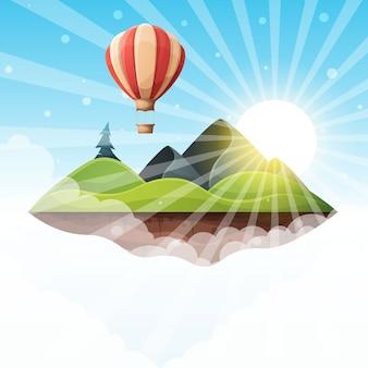 Мультфильм остров пейзаж иллюстрации. ель, гора, солнце, холм,