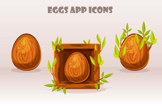 小枝の正方形の漫画の孤立した木製の卵。 webアイコンとモバイルアプリのデザイン。 。