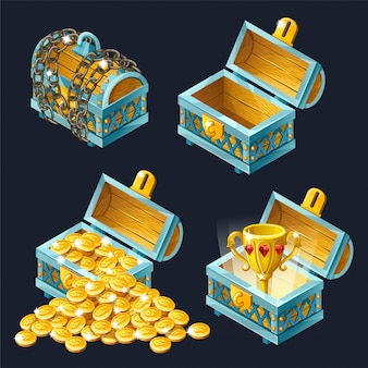 Cartoon isometric chests icon with treasures.