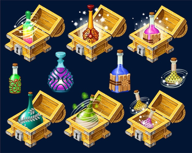 Cartoon isometric chests with elixirs.