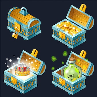 Cartoon isometric chests with treasures.