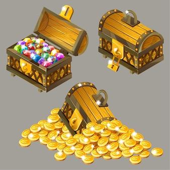 Cartoon isometric with treasures set