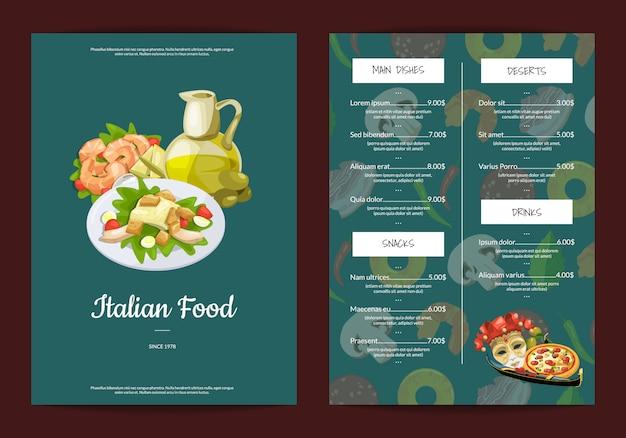 Мультфильм итальянская кухня кафе или ресторан меню