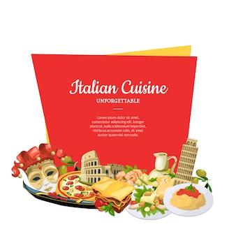 Cartoon italian cuisine elements below frame banner set