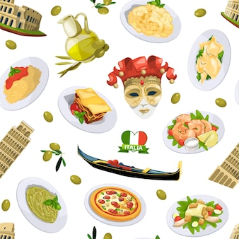 Cartoon italian cuisine elements pattern or background illustration. italian cuisine and architecture pisa, tower
