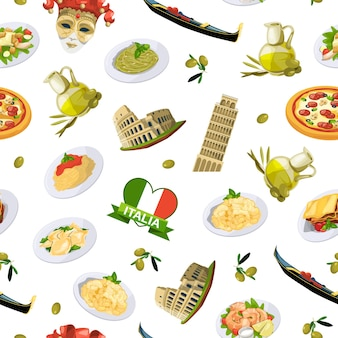 漫画のイタリア料理要素パターンまたは背景イラスト。伝統的な食事と食べ物