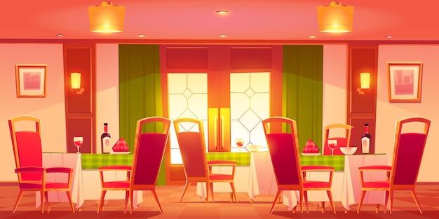 漫画のイタリアンレストランのインテリア