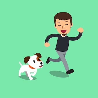 Cartoon jack russell terrier dog and a man